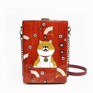 梵集手绘柴犬木质斜挎小包