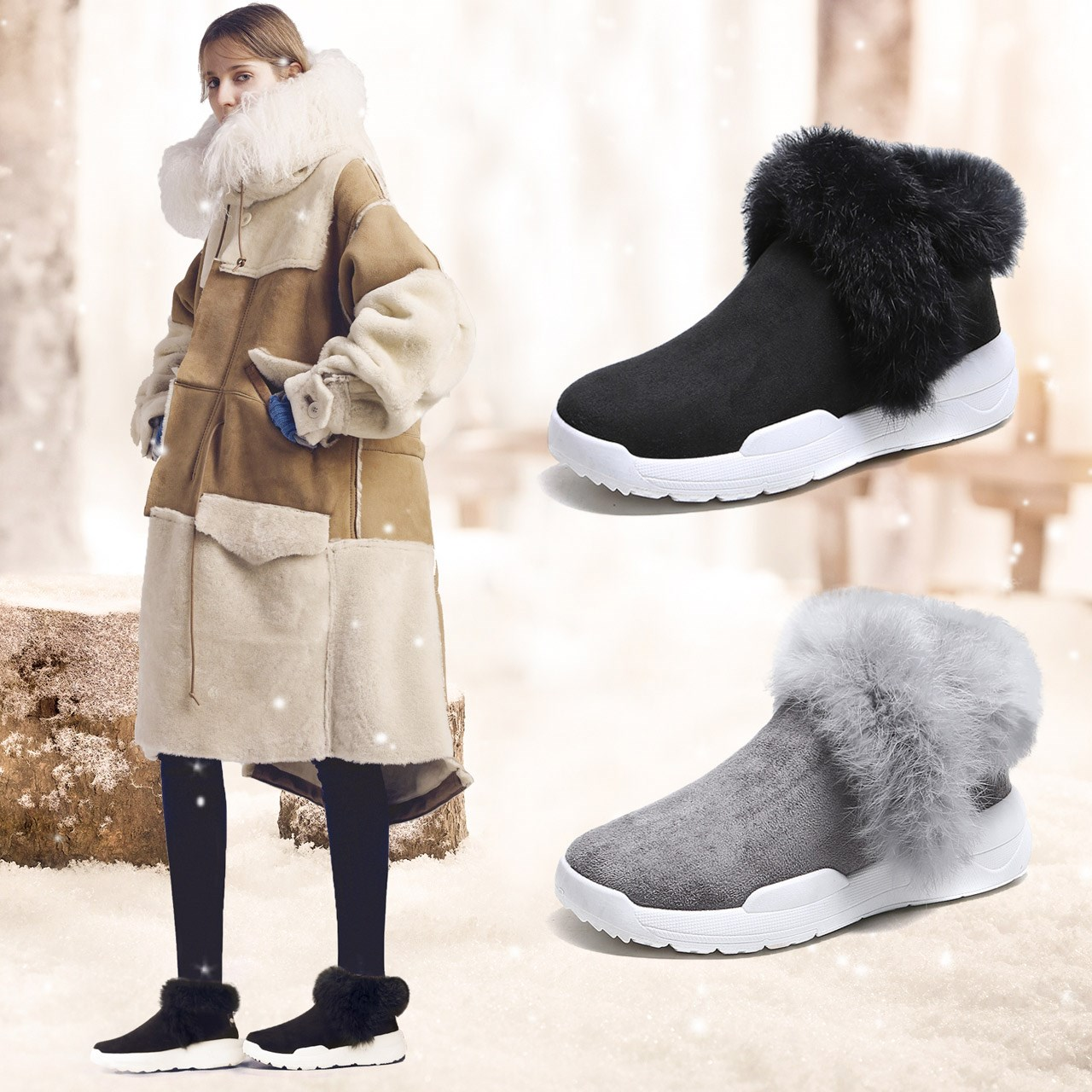 美着新款街拍女鞋短筒雪地靴