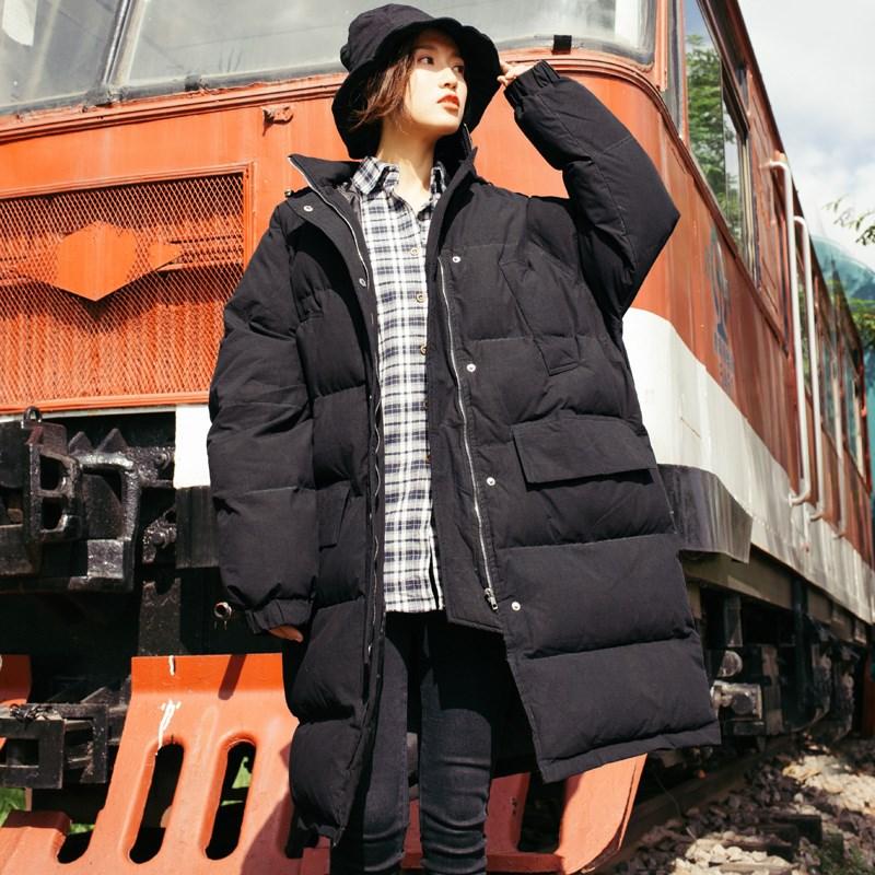 韩版中长款连帽加厚棉服