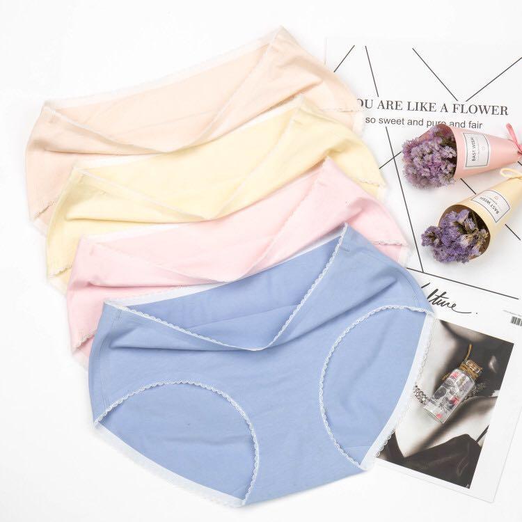 猫人纯棉无痕蕾丝抗菌内裤四条装