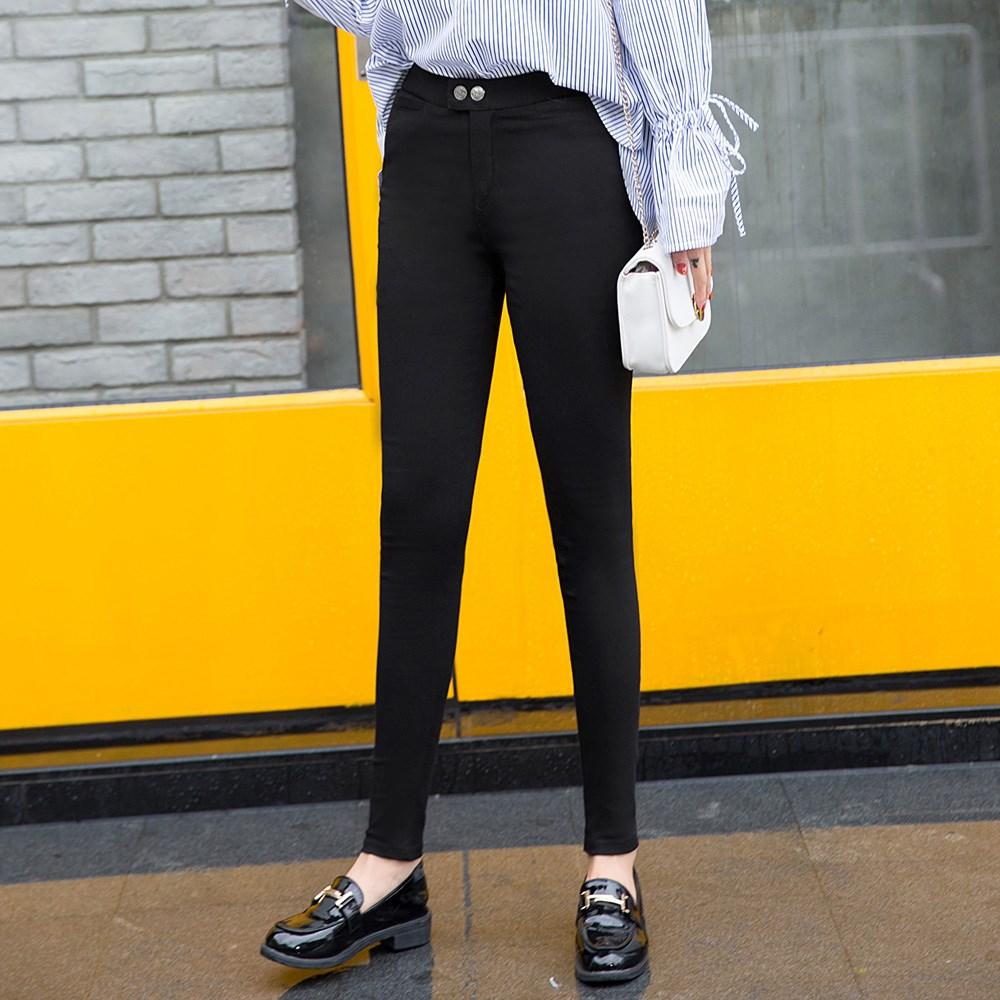 杨幂同款黑色紧身富贵锻魔术裤