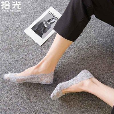 夏季薄款蕾丝隐形硅胶船袜5双