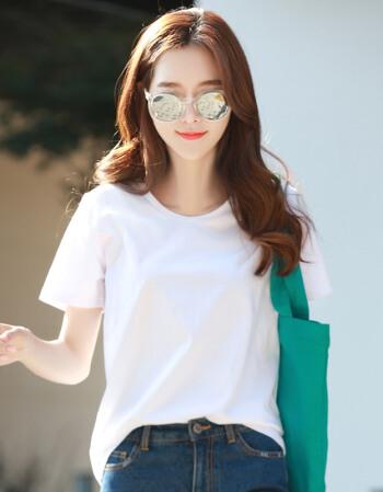 高莉娅简约纯色短袖T恤
