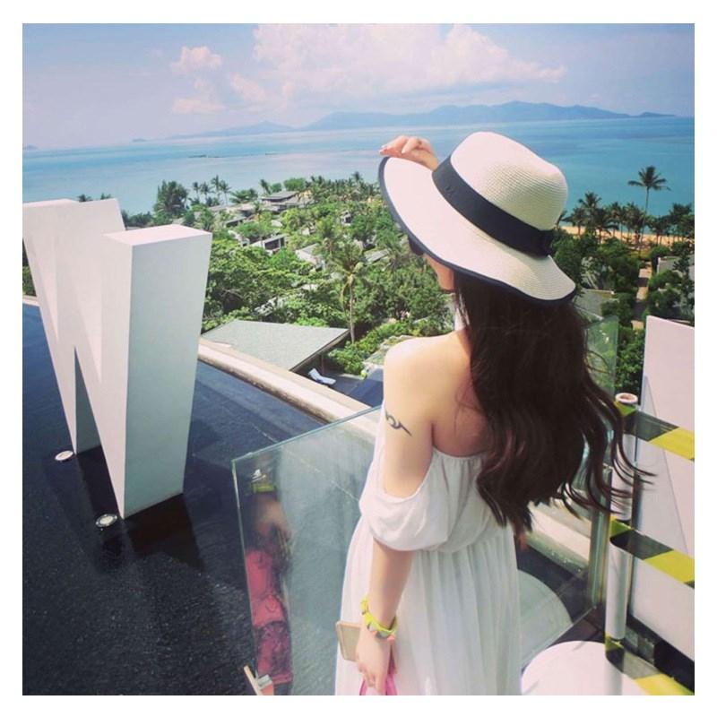 网红沙滩遮阳帽女夏季百搭草帽