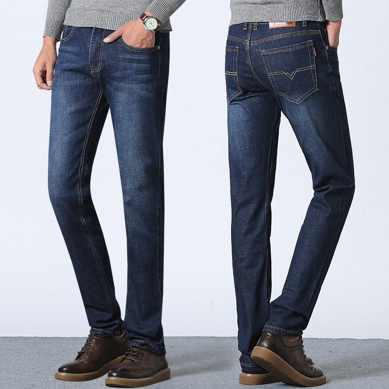 南极人+夏季男士修身直筒牛仔裤