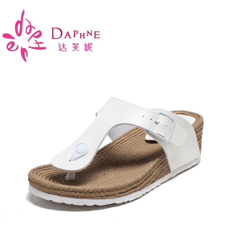 达芙妮坡跟厚底夹脚凉鞋