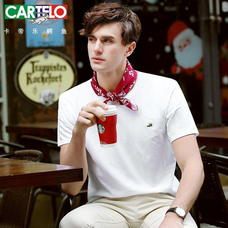 卡帝乐鳄鱼100%纯棉短袖T恤