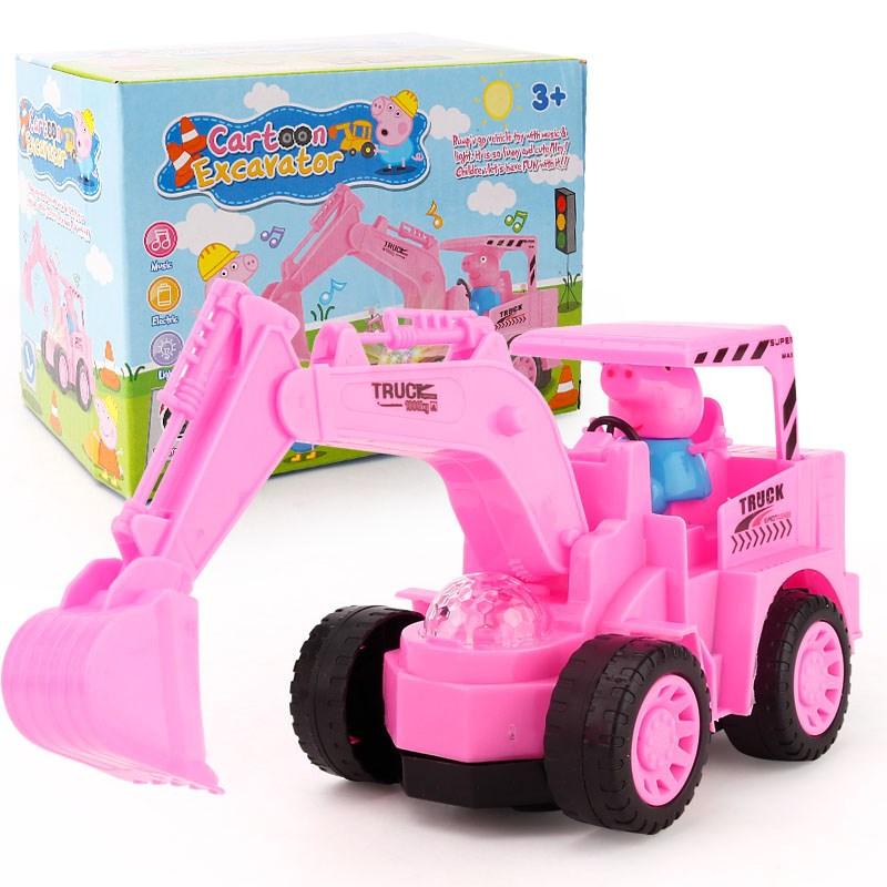 电动小猪佩奇工程车挖掘机玩具