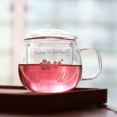 带盖过滤花茶杯玻璃杯
