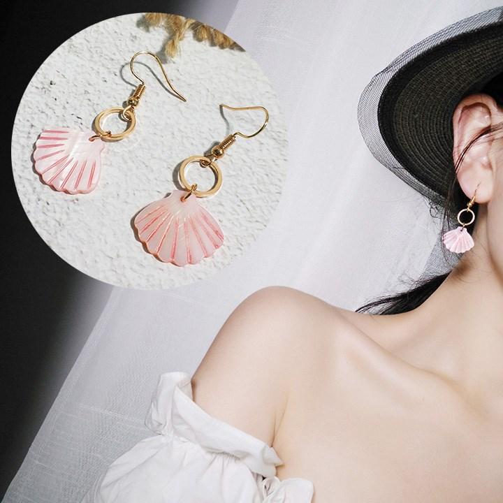 韩国百搭粉色贝壳耳环