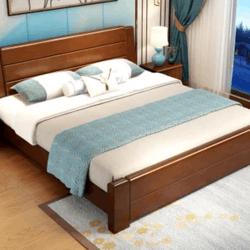 曲尚中式实木床 (床+山棕床垫)