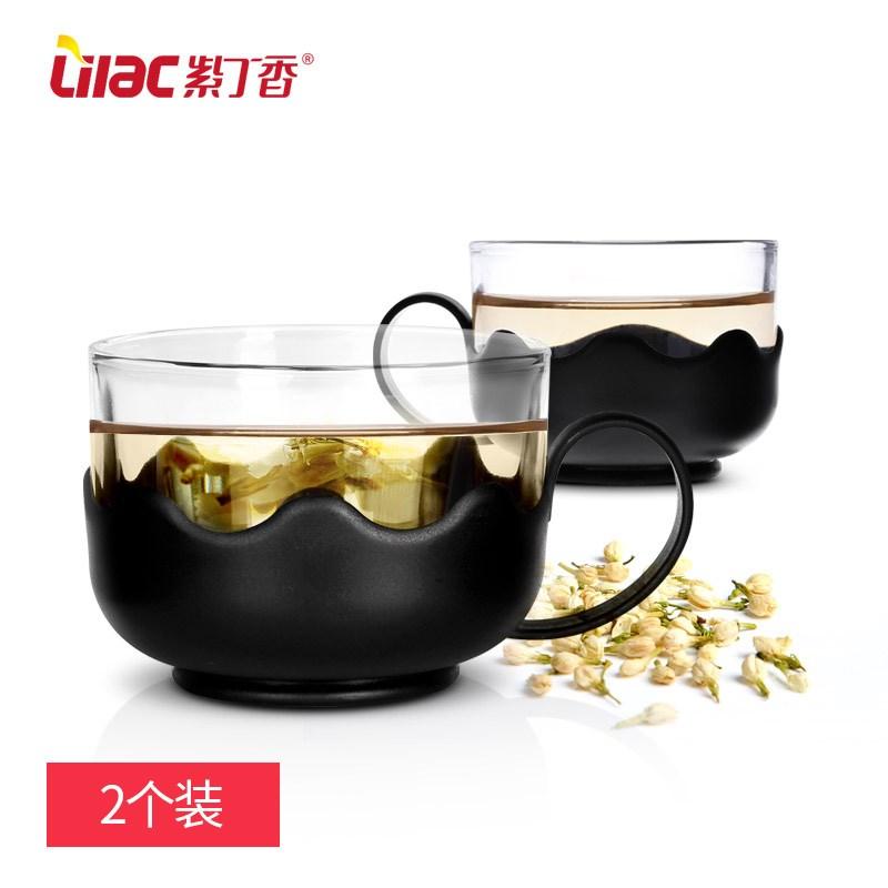 紫丁香玻璃茶杯2个装