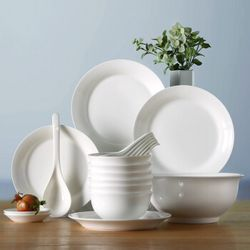 松发 简 瓷欧式陶瓷餐具20头套装