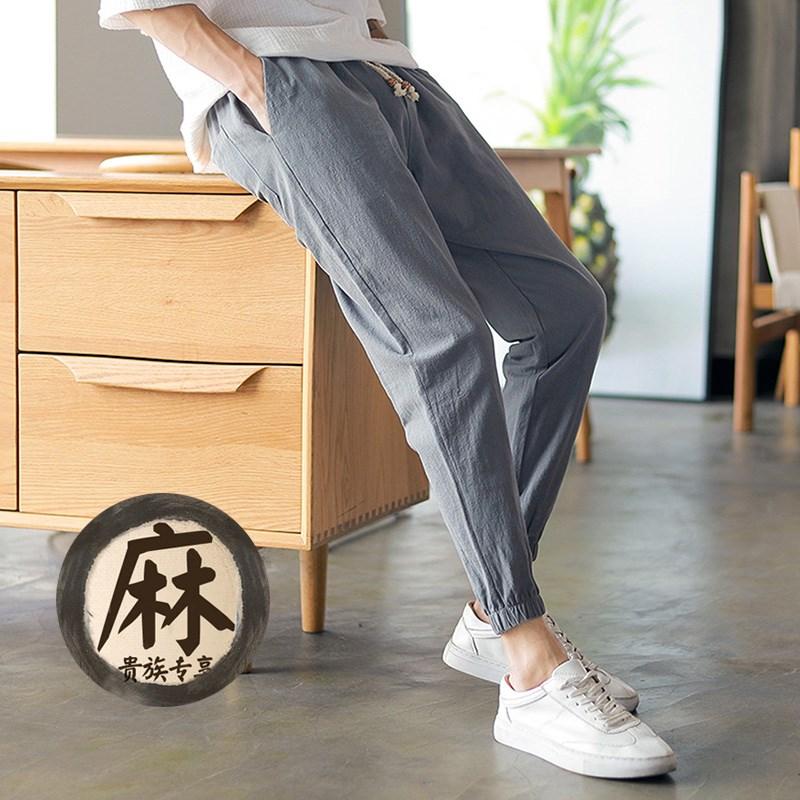 棉麻男士九分休闲运动裤束脚裤