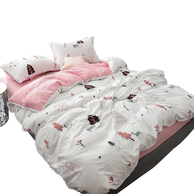 五件套ins裸睡水洗棉床单被套