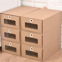 百露 抽屉式 牛皮纸透明鞋盒6个装