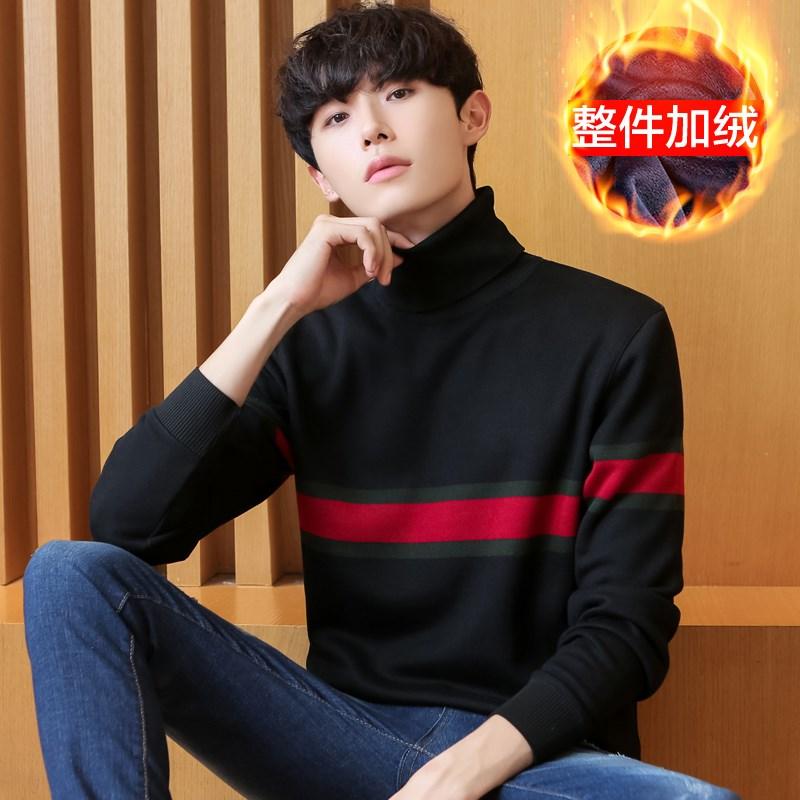 【加绒加厚】男高领针织衫毛衣
