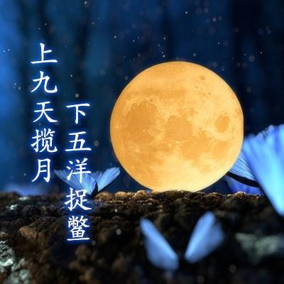 抖音3d打印月球灯小夜灯床头台灯